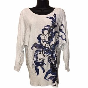 ALFANI Metallic Print Sweater~sz XL~
